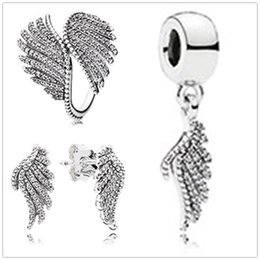 Wholesale Sterling Silver Phoenix Charm - S925 Sterling Silver Charm Pendant Bead & Ring & Earrings Sets Fit European Pandora Style Jewelry Bracelets & Necklaces-Phoenix Feather