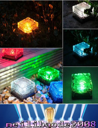 Wholesale Solar Lighted Garden Stakes - RGB Solar Lamp Colorful Led Crystal Cube Light Garden Light Outdoor Light landscape Light Solar lawn lamp Yard Stake Decoration Light MYY