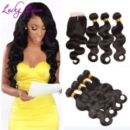 Wholesale Rosa Hair Products - Rosa Hair Products Malaysian Body Wave 3 Bundles With Closure Miss Hair Virgin Wet And Wavy Bundles With Lace Closure 4x4