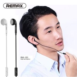 Wholesale Wholesale Cell Phone Jacks - Remax RM-101 Wired Headset with Microphone 3.5mm Earphones Single Head Ear hook Earphone 1M Audio Jack for all android phones