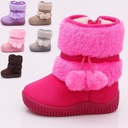 Wholesale Toddler Winter Cotton Padded Shoes - Kids Girls Snow Boot Baby Girl Suede Pom Pom Cotton-Padded Warm Shoes 2017 Children Winter Fashion Booties Size 21-35(Toddler Little Kid)