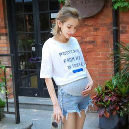 Wholesale Maternity Jeans Short Pants - Summer Pregnant Maternity Short Jeans Belly for Nursing Adjustable Personality Broken Edge Pregnant Women Clothes Pants