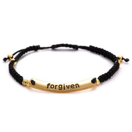 Wholesale Men Tube Top - New Top 4mm Gold plated Round Beads with Cubic Zirconia Tube Braiding forgiven letter Macrame Bracelet for men woman