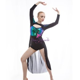 Wholesale Multicolored Skirt - Dance Favourite Multicolored Sequin Jazz & Tap Dance Costume Green Sequin Bodice with Black Mesh Long Skirt Drop Shipping