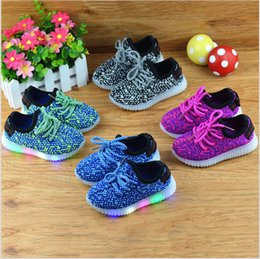 Wholesale Toes Shoes China - China wholesale 2017 new spring fashion casual running sneaker kids shoes light led girls boy lace up mesh mixed fabric rubber anti-slippery