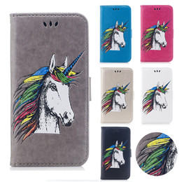Wholesale Tpu Cases Wholesale Usa - 30 50pcs Painted Horse Wallet PU Leather Case for Samsung Galaxy J3 J5 J7 2017 2016 USA & European Asian Leaves Marble Card Slot Stand Case
