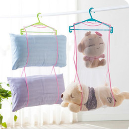 Wholesale Mesh Pillow - Clothesline Storage Dry Mesh Bag Plush Doll Pillow Shelf Creative Multi-purpose Drying Storage Racks Lauudry Bag Hanger JF-814