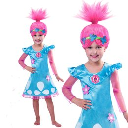 Wholesale Dress Long Sleeve Kid - Christmas Costumes For Girls Trolls Party Dress Kids Dresses For Girls Long Sleeve Robe For Teenagers Children Clothing