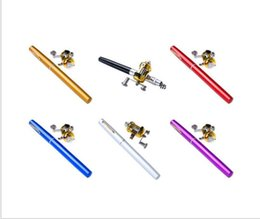 Wholesale Pocket Fish Pen - 300Pcs Portable Pocket Telescopic Mini Fishing Pole Aluminum Alloy Pen Shape Fishing Rod With Reel Wheel 6 Colors