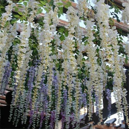 Wholesale Artifical Vines - Glamorous Wedding Ideas Elegant Artifical Silk Flower Wisteria Vine Wedding Decorations 12 Piece a lot More Quantity More Beautiful
