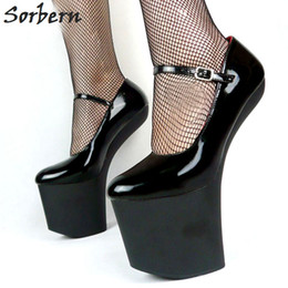 "Wholesale Goth Wedge Shoes - Sorbern 20Cm 8"" Sexy Fetish Drses Shoes Strange Hoof Heel 9Cm Platform Shoes Costume Corset Goth Heel Pumps For Halloween Costume Pumps"