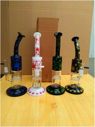 Wholesale Maple Leaf Types - 2017 New High quality Hookah Perc Honeycomb  tornado glass water pipe dab oil rigs glass bong with Maple leaf pattern Dab Rig free shipping