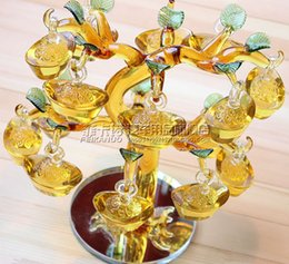 Wholesale Money Tree Decoration - Beautiful Lucky tree yellow crystal crystal New Year Decoration ingot Fortune tree cash cow opening gift Lucky decoration