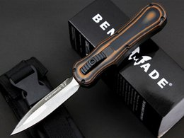 Wholesale Tactical Front - Benchmade Infidel,double action out the front knives,440C steel blacken treatment Plain,Tactical knife,nylon sheath,G10 handle