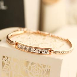 Canada Agood de haute qualité plaqué or rose CZ diamants bracelets bracelets pour femmes femmes de mariage parti mode bijoux accessoires H00002 Offre