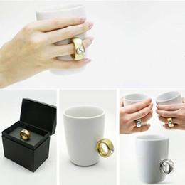 Wholesale Diamond Ring Cup - HOT SELL Valentine Cup Cute Mug Novelty items Elegant Austria Crystal Diamond 2 Carat Ring Ceramic Cup