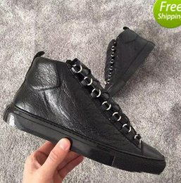 Wholesale Cracks Shoes - Men's Fashion arena High-top Bovine skin wrinkle crack Leather Lace Up zapatos hombre French Style Sneakers Casual Shoes