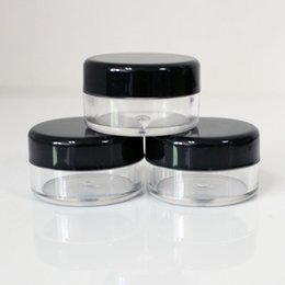 Wholesale Cosmetic Jars Black Lids - Wholesale- 5g Black lid Cream Jar plastic bottle, Empty Plastic Cosmetic Container, clear jar, Small Sample Makeup Sub-bottling