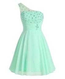 Wholesale Mint Chiffon Maternity Dress - New Cheap Prom Dresses Short Graduation Dress 2017 Free Shipping Vestidos De 15 Anos Cortos Mint Green One Shoulder Homecoming Dresses