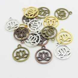 Wholesale Lotus Flower Jewelry Gold - Sweet Bell Wholesale (Min order 50 pieces) 20*24mm Four color Metal Alloy Lotus Flower Charms Jewelry Making Charms D0566