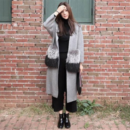 Wholesale Knitted Fox Fur Cardigans - Wholesale-[soonyour] 2016 Fall and winter new women cardigan High imitation fox fur split in cashmere long sweater cardigan RS062