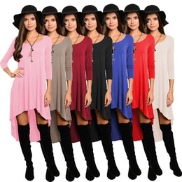 Wholesale Long Sleeved Dress Knee - Women Dresses Casual Loose Blouse Scoop Irregular Tops Sexy Mini Dress Fashion Solid Long-Sleeved Vestidos Women Clothing 2017 New D548