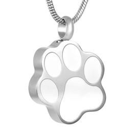 Wholesale Wholesale Pet Urns - IJD8451 316L Stainless Steel Necklace Pendants Animals Dog Ashes Cremation Jewelry White enamel pet paw prints urn pendant