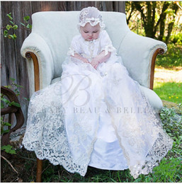 Wholesale Baby Christening Boys - 2017 Lolita White Ivory Christening Dress Baby Boys Girls Baptism Gown Lace Applique With Bonnet Any Size