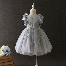 Wholesale Embroidery Dresses For Evening - Retail Boutique Girls Dresses for Party and Wedding Formal Evening Petal Sleeve Lace Embroidery Tutu Birthday Dress E068