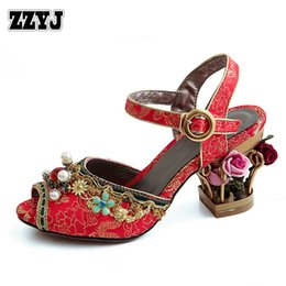 Wholesale Burgundy Sandals For Women - ZZYJ brand newest design sweet flowers sandals fashion hollow flowers heels peep toe high heel sandals for female big size C8317