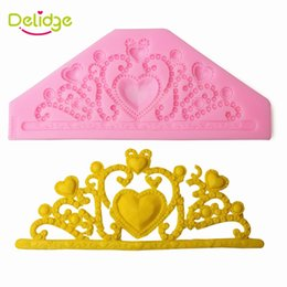 Wholesale Imperial Silicone - Delidge 20 pc Vintage Flower Pattern Cake Mold Silicone Heart Imperial Crown Flower Fondant Candy Mould Cupcake Decoration Mold