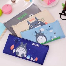Wholesale totoro cosmetic bag - Wholesale-Cute School Pencil Bag Totoro Pencil Pouch Zipper Hayao Miyazaki Cosmetic Bags Office Stationery Pencil Case School Supplies