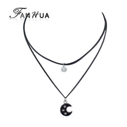 Wholesale Statement Necklaces Multi Layers - FANHUA New Black Chain with Rhinestone Enamel Star Moon Pendant Necklace Multi Layer Chain Statement Maxi Necklace