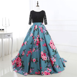 Wholesale Three Quarter Sleeve Prom Dress - In Stock Two Stones Prom Dresses Print Flowers Ball Gowns Three Quarter Sleeve Lace Top Evening Gowns