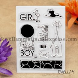Wholesale Elephant Stamp - Wholesale- Scrapbook DIY photo cards account rubber stamp clear stamp transparent stamp GIRL BOY LOOK giraffe Elephant 7.5x10.5cm KW642611