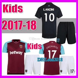 Wholesale Noble Set - Kids set 2017 2018 West ham united soccer jerseys 17 18 CARROLL NOBLE CHICHARITO child youth home away football jersey shirt