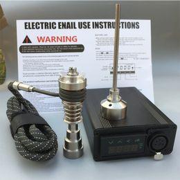 Wholesale electric vapors - Portable Electric dab ENail E Quartz banger Nail Titanium Vapor Wax Dry Herb Electronic dab rig Temperature Controller Box quartz enail