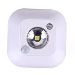Mini sensor de luz online-Mini Inalámbrico de inducción Dual PIR Sensor de Movimiento Infrarrojo Sensor de Cuerpo de Techo Sensor de Luz Nocturna Batería Porche Lámpara del Gabinete Porche