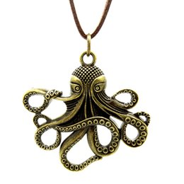 Wholesale Vintage Octopus Pendant - Sweater Necklace Leather Jewelry Punk Jewelry Vintage Necklace Hip Hop Rock Retro Celtic Style Octopus Devilfish Pendant Cuttlefish M2425
