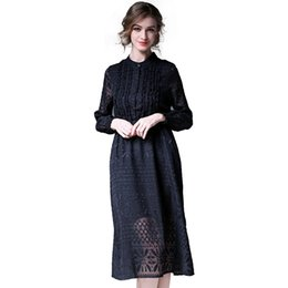 Wholesale midi chiffon dress - Fashion Solid Black Lace Dress Woman Spring New Calf-Length Casual Dress Stand Collar Elegant Long Sleeve