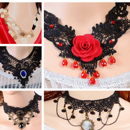 Wholesale Sexy Gothic Mix - girl jewelry Retro Sexy Lace Necklace palace nightclub performances Gothic Vampire Diaries rose essential accessories