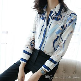 Wholesale Women S Silk Shirts Xl - 2017 Long Sleeves Turn-Down Collar Printed 100% Silk Women Tops Blouse Newest Tulip Silk Blouses & Shirts