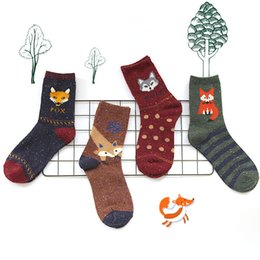 Wholesale Thick Cotton Crew Socks - Wholesale-Korean thick wool cotton women girl crew socks autumn winter of Harajuku animal Fox Wolf striped sox brand lovely cute christmas