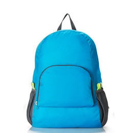 Wholesale Soild Gold - Wholesale- Portable Fashion casual Travel Backpacks Zipper Soild Nylon Back Pack Daily Traveling Women men Shoulder Bags Folding Bag 2016