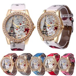 Wholesale Glass Eiffel Towers - DHLfree Luxury Eiffel Tower Rhinestones diamonds bracelet Dress watches Women Fashion Love Heart PU Leather Strap Quartz Wrist Watch relojes