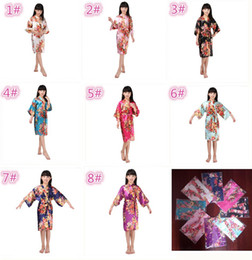 Wholesale Child Robes - 8 colors kids rose flower silk Robe girl children Satin Pajama Lingerie Sleepwear Kimono Bath Gown pjs Nightgown M031