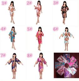 Wholesale Silk Long Kimonos - 8 colors kids rose flower silk Robe girl children Satin Pajama Lingerie Sleepwear Kimono Bath Gown pjs Nightgown M031