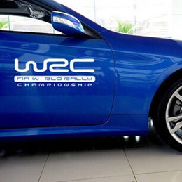 Wholesale Wrc Car Stickers - 1pcs Automobile Exterior Accessory Car Sticker 20cm * 7cm WRC Car Stickers Sports Auto Door Stickers Reflective Car Waist Line Stickers