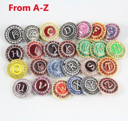 Wholesale 26 Alphabet Letter Charms - 20MM snap button charms Metal Rhinestone 26 letter alphabet Loose ginger snaps For Noosa bracelets DIY jewelry accessories 26pcs Lots