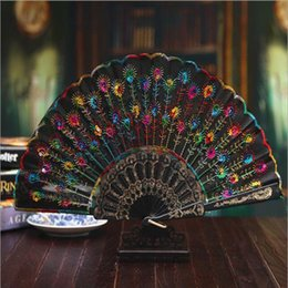 Wholesale Bamboo Fabric China - Handmade Peacock Embroidery Fabric Folding Fan Silk Top Grade Bridal Fans Bridesmaid Fans Hollow Bamboo Handle Wedding Accessories Fold Fans